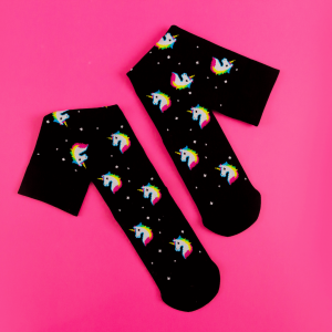 Black compression socks with colourful 80s style unicorns