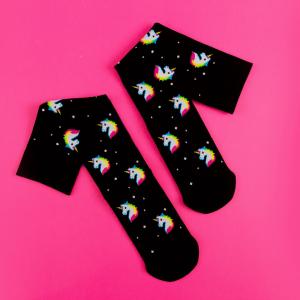Black compression socks with colourful 80s style unicorns