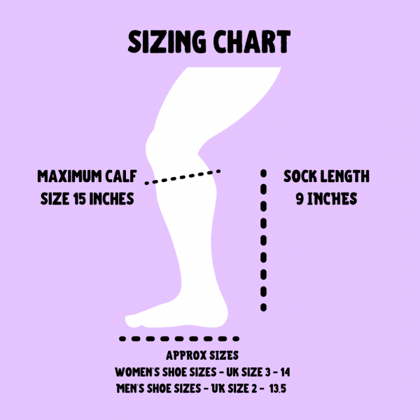 White cut out leg showing the different sizes for the compression socks. Maxium calf size 15 inches, length of sock 6 inches. Shoe size uk women's 3-14 and men's 2 - 13.5