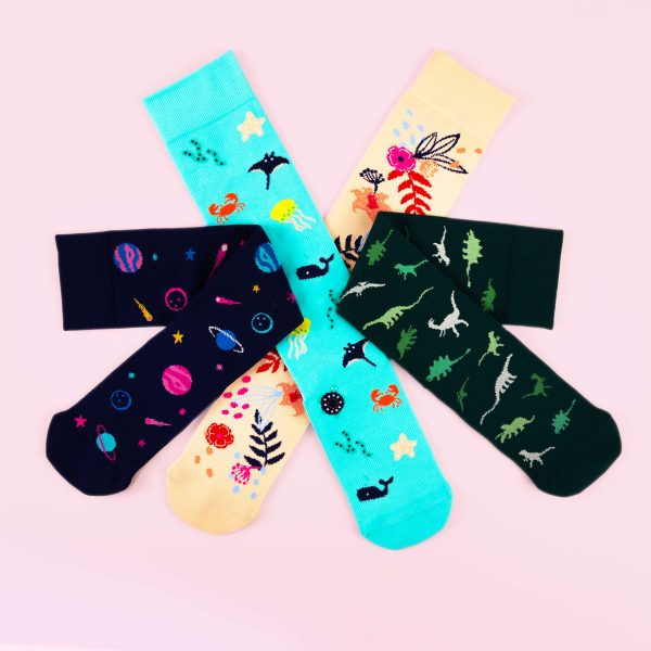 Compression socks on a light pink background in a circle. From left to right, space. sea creatures, floral and dinosaurs