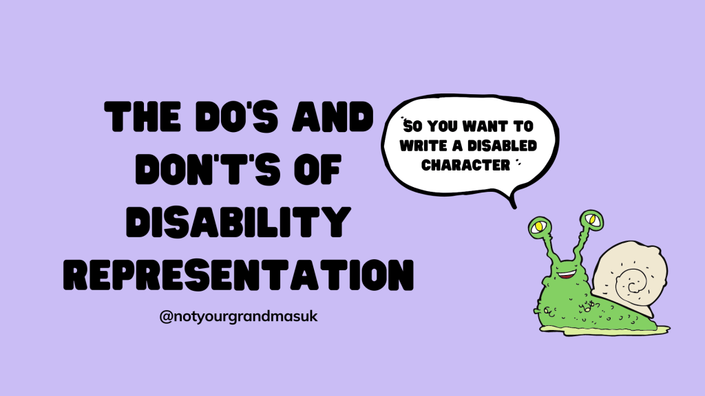 black title on purple background reads 'the do's and don't of disability representation'